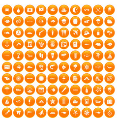 100 marine environment icons set orange vector