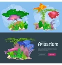 Aquarium fish seaweed underwater banner template vector