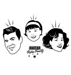 Avatar retro family cartoon faces retro style vector
