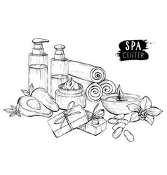 Avocado oil cream and spa products vector