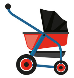 Baby stroller in red and blue vector