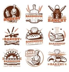 Bakery Orange Emblems Set vector image