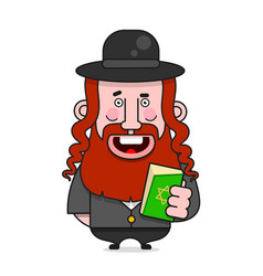 Bearded jew in a hat for poster vector