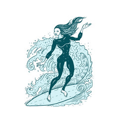 Beautiful woman on surf board vector