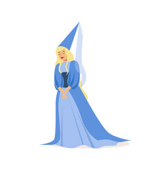 beautifull princess in a blue ball dress and vector image