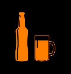 beer bottle sign orange icon on black background vector image