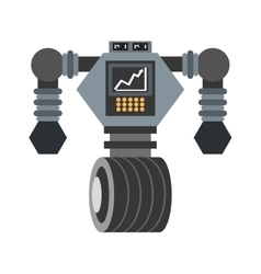 big robot futuristic analytics screen wheel vector image
