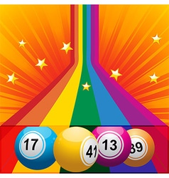 Bingo balls coming out from a rainbow vector