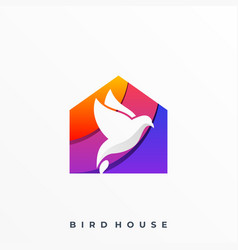 bird with house design concept template vector image