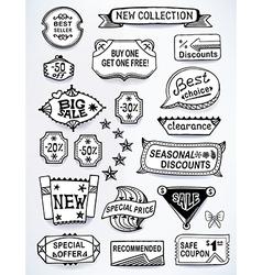 Black-white set promotional english labels vector
