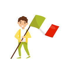 Boy holding national flag of italy design element vector