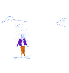 businessman standing under rain cloud rainy day vector image