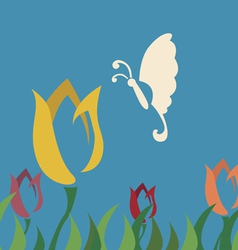 Butterfly choose tulip flower vector