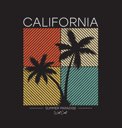 California t-shirt design with silhouette palm vector