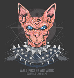 Cat punk rider egypt metal rocker element vector