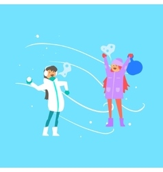 Cheerful Girls Playing Snowballs vector image