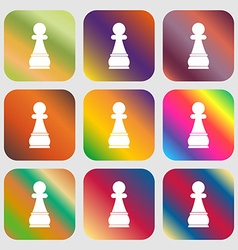 Chess Pawn sign icon Nine buttons with bright vector image