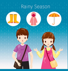Children wet they standing together in the rain vector