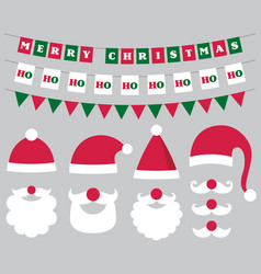christmas decoration and santa hats and beard vector image