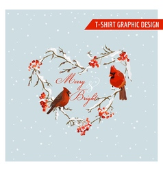 Christmas Winter Birds and Berries Graphic Design vector