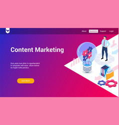 content marketing 3d template vector image