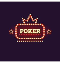 Crowned Poker Neon Sign vector
