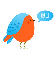 cute kawaii bird with speech bubble saying hello vector image