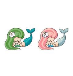 cute mermaids with exotic flower in hair vector image