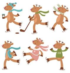 Cute skating deers vector