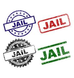 Damaged textured jail stamp seals vector