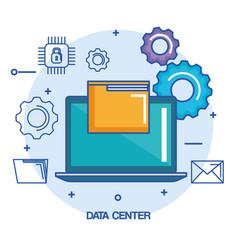 Data center laptop computer file document system vector