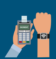 Dataphone in the hand with receipt and smartwatch vector