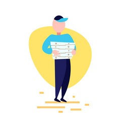 Delivery man hold pizza box standing pose on white vector