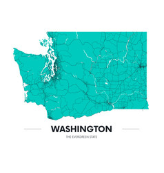 Detailed washington state map highly detailed vector