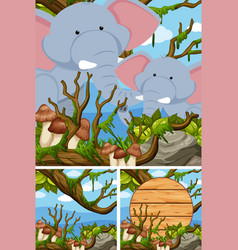elephants in the forest and wooden sign vector image