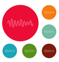 equalizer wave sound icons circle set vector image