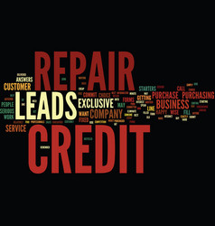 Exclusive credit repair leads text background vector
