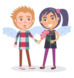 First date teenage couple in angel wings boy girl vector