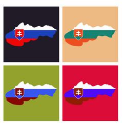 Flag map of slovakia vector