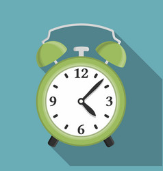 flat green alarm clock vector image