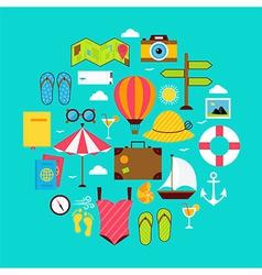 Flat Summer Vacation Icon Circle Shaped Set vector image