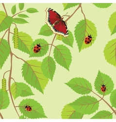 Flower background with butterflies and dragonflies vector image
