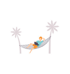 freelancer lying on hammock and working with vector image