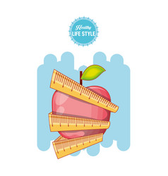 fruit apple with tape measure healthy food vector image