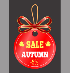 Gift card with ribbon poster autumn sale vector