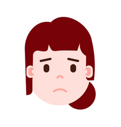 Girl head emoji with facial emotions avatar vector