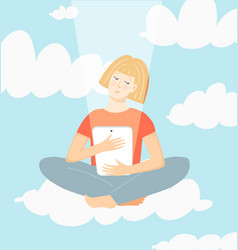 Girl sitting on cloud looking at screen tablet vector