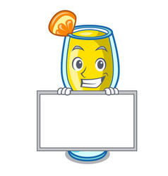 Grinning with board mimosa character cartoon style vector