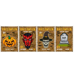 halloween invitation colored posters vector image