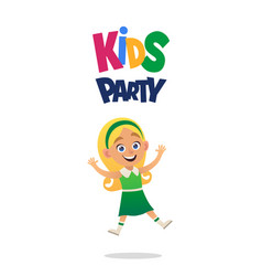 happy blond girl jumping for joy kids party on vector image